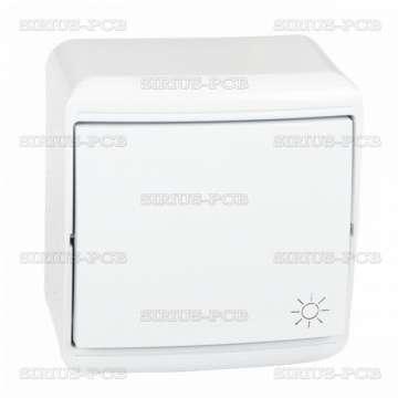 Електрически ключ за външен монтаж, стълбищен, бял, IP20