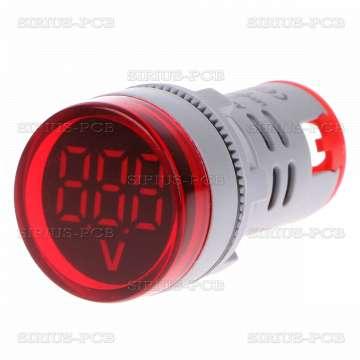Индикаторен волтметър AD16 60V - 500V/AC за вграждане в ел табла и уреди; червен