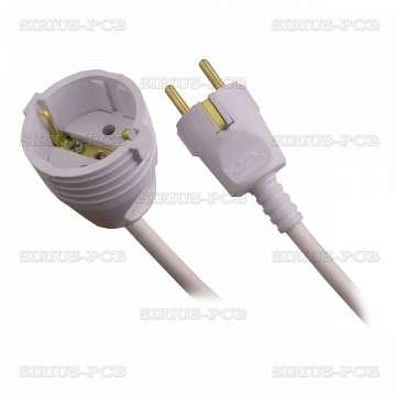 Удължител 1-ен гумен удароустойчив, 3x1.5mm2, IP20, невлагозащитен, бял
