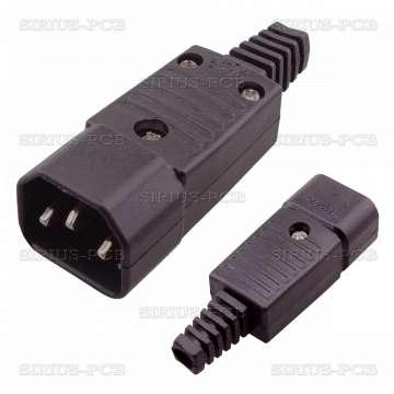 Захранваща букса IEC C14 / мъжки / 250VAC/10A