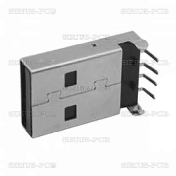 Букса USB A PCB-M; ъглова 90°; 1.5A
