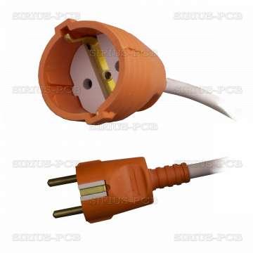 Удължител 1-ен гумен удароустойчив, 3x1.5mm2, IP20, невлагозащитен, оранжев