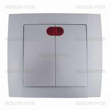 Електрически ключ HAKAN SR-2502 СХ.5 двоен светещ ср.сив